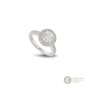 18k White Gold Round Brilliant Cut Diamond Ring 1.07ct H/SI3